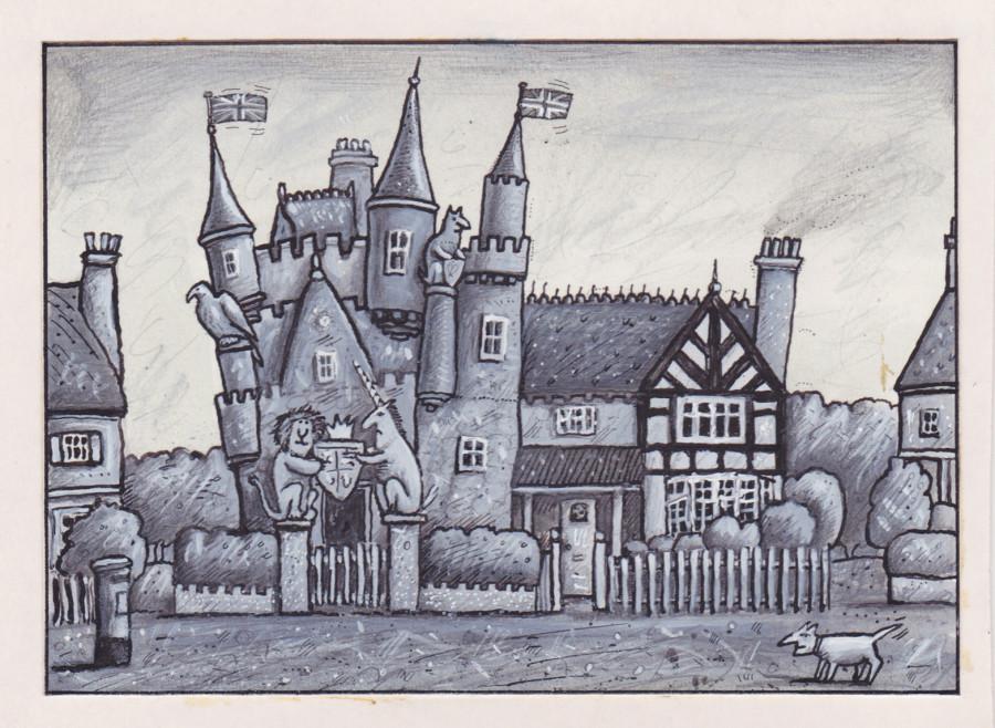 Castle house illustration