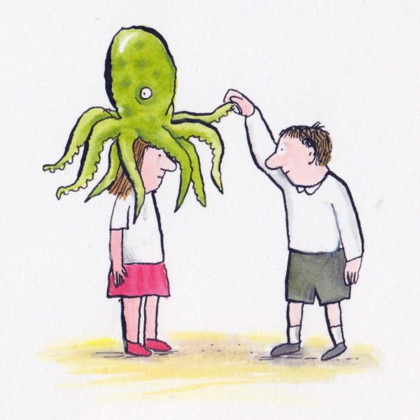 girl boy octopus illustration