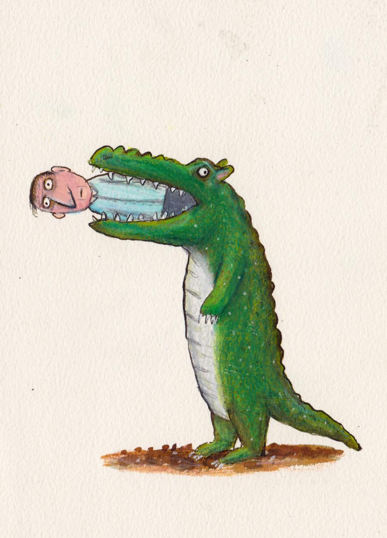 maneating croc illustration