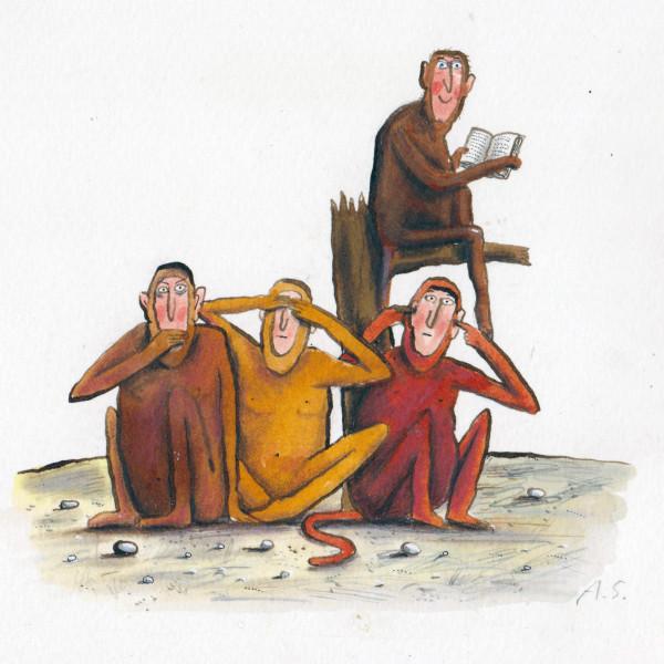 no evil monkeys illustration